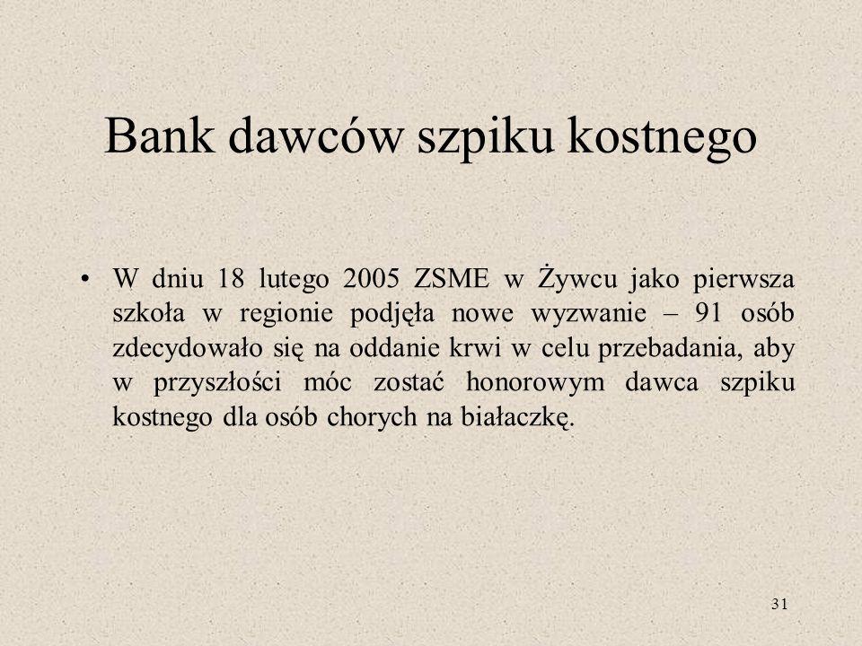31 Bank dawców szpiku kostnego W dniu 18 lutego 2005 ZSME w Żywcu jako pierwsza szkoła w regionie podjęła nowe wyzwanie – 91 osób zdecydowało się na o