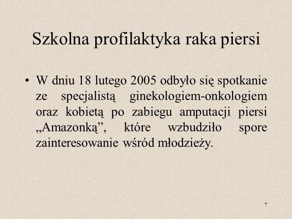 7 Szkolna profilaktyka raka piersi W dniu 18 lutego 2005 odbyło się spotkanie ze specjalistą ginekologiem-onkologiem oraz kobietą po zabiegu amputacji