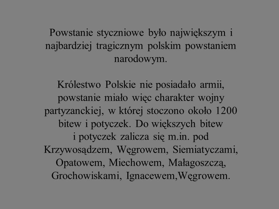 Powstanie styczniowe było największym i najbardziej tragicznym polskim powstaniem narodowym. Królestwo Polskie nie posiadało armii, powstanie miało wi
