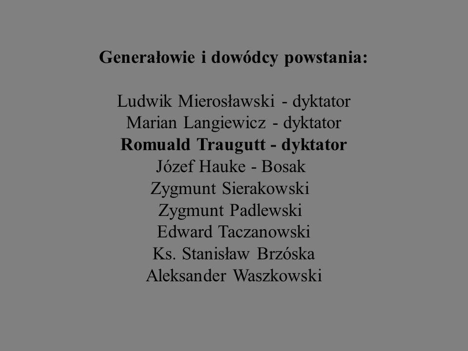 Generałowie i dowódcy powstania: Ludwik Mierosławski - dyktator Marian Langiewicz - dyktator Romuald Traugutt - dyktator Józef Hauke - Bosak Zygmunt S