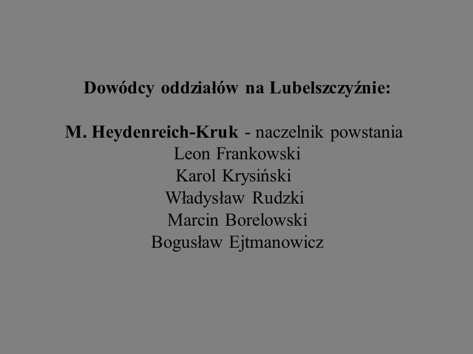 Dowódcy oddziałów na Lubelszczyźnie: M. Heydenreich-Kruk - naczelnik powstania Leon Frankowski Karol Krysiński Władysław Rudzki Marcin Borelowski Bogu