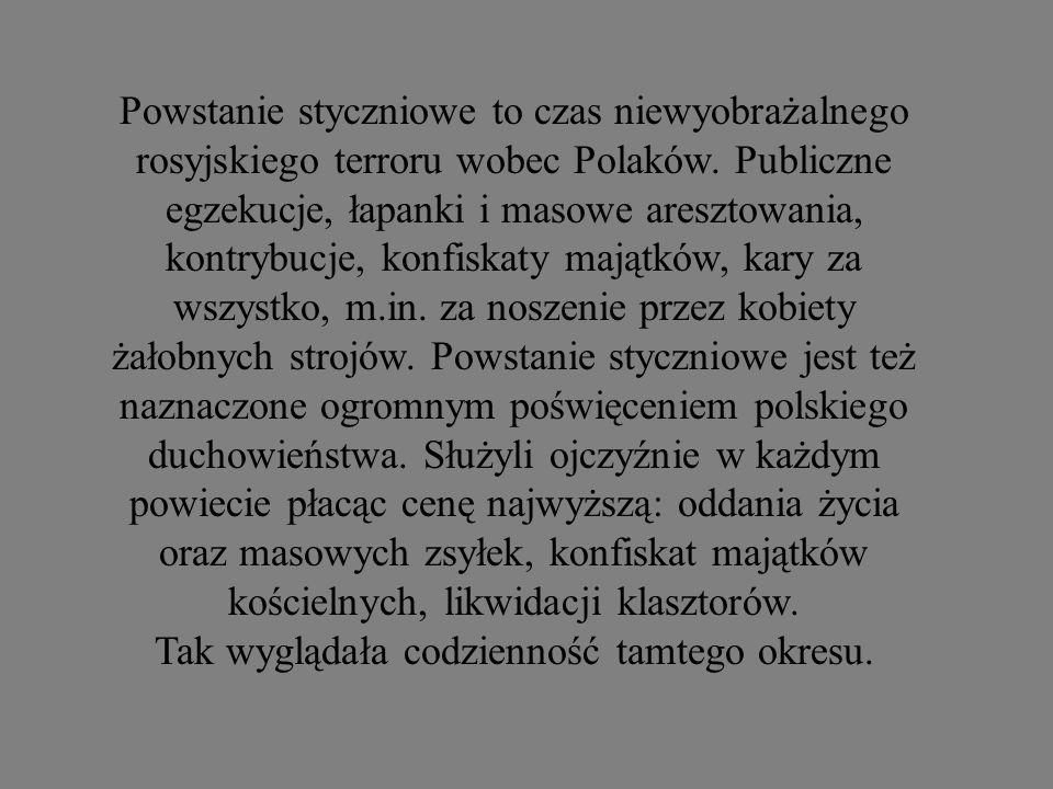 Powstanie styczniowe to czas niewyobrażalnego rosyjskiego terroru wobec Polaków. Publiczne egzekucje, łapanki i masowe aresztowania, kontrybucje, konf