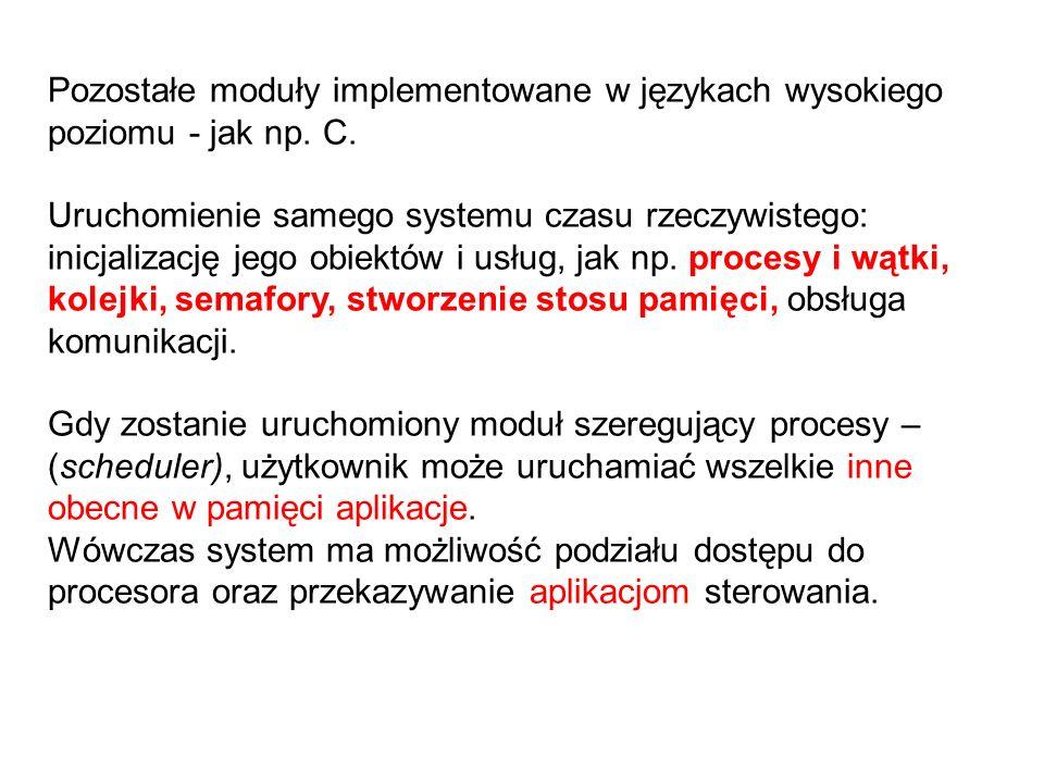 Pozostałe moduły implementowane w językach wysokiego poziomu - jak np. C. Uruchomienie samego systemu czasu rzeczywistego: inicjalizację jego obiektów