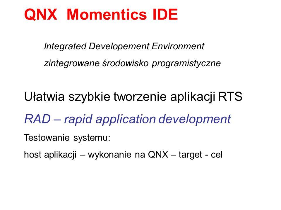 Integrated Developement Environment zintegrowane środowisko programistyczne QNX Momentics IDE Ułatwia szybkie tworzenie aplikacji RTS RAD – rapid appl