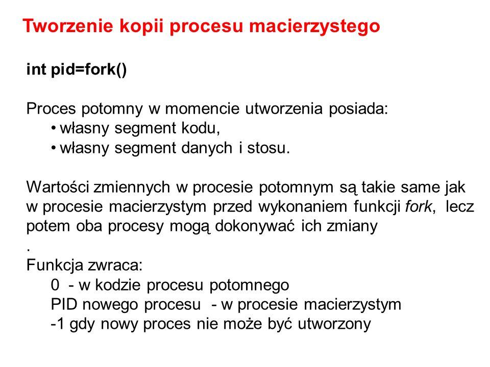 int pid=fork() Proces potomny w momencie utworzenia posiada: własny segment kodu, własny segment danych i stosu. Wartości zmiennych w procesie potomny