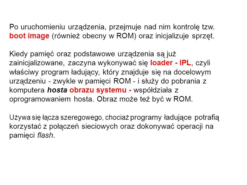 Po uruchomieniu urządzenia, przejmuje nad nim kontrolę tzw. boot image (również obecny w ROM) oraz inicjalizuje sprzęt. Kiedy pamięć oraz podstawowe u
