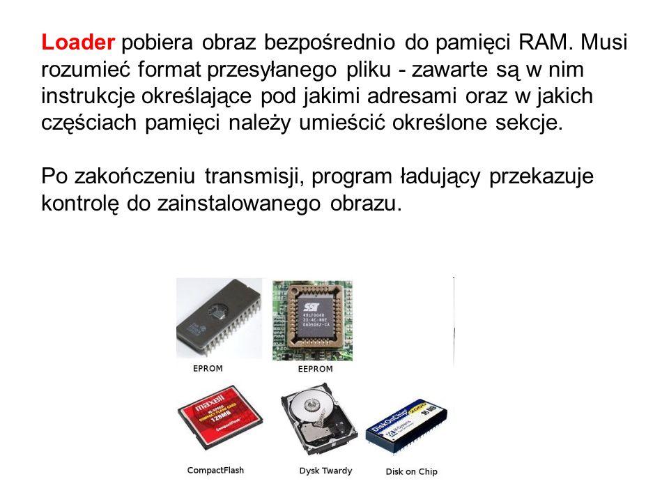Loader pobiera obraz bezpośrednio do pamięci RAM. Musi rozumieć format przesyłanego pliku - zawarte są w nim instrukcje określające pod jakimi adresam