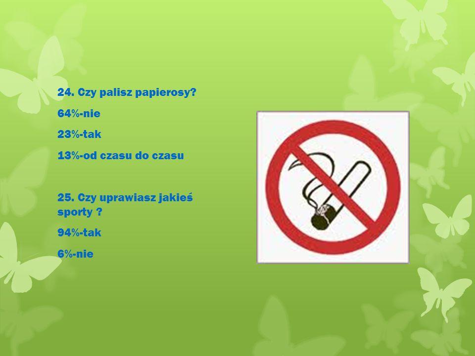 24.Czy palisz papierosy. 64%-nie 23%-tak 13%-od czasu do czasu 25.