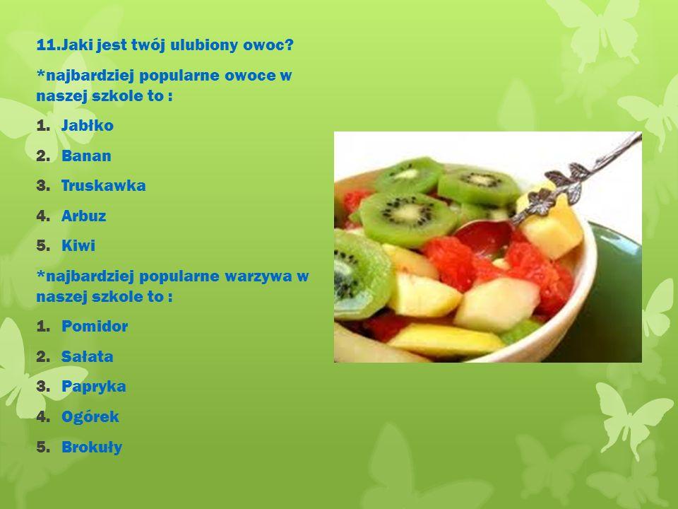 11.Jaki jest twój ulubiony owoc.