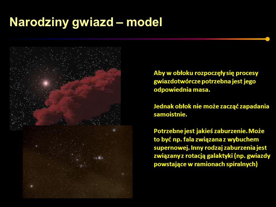 Narodziny gwiazd – model Aby w obłoku rozpoczęły się procesy gwiazdotwórcze potrzebna jest jego odpowiednia masa. Jednak obłok nie może zacząć zapadan