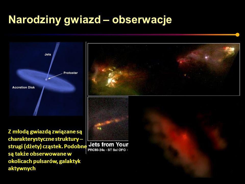 Narodziny gwiazd – obserwacje Z młodą gwiazdą związane są charakterystyczne struktury – strugi (dżety) cząstek. Podobne są także obserwowane w okolica