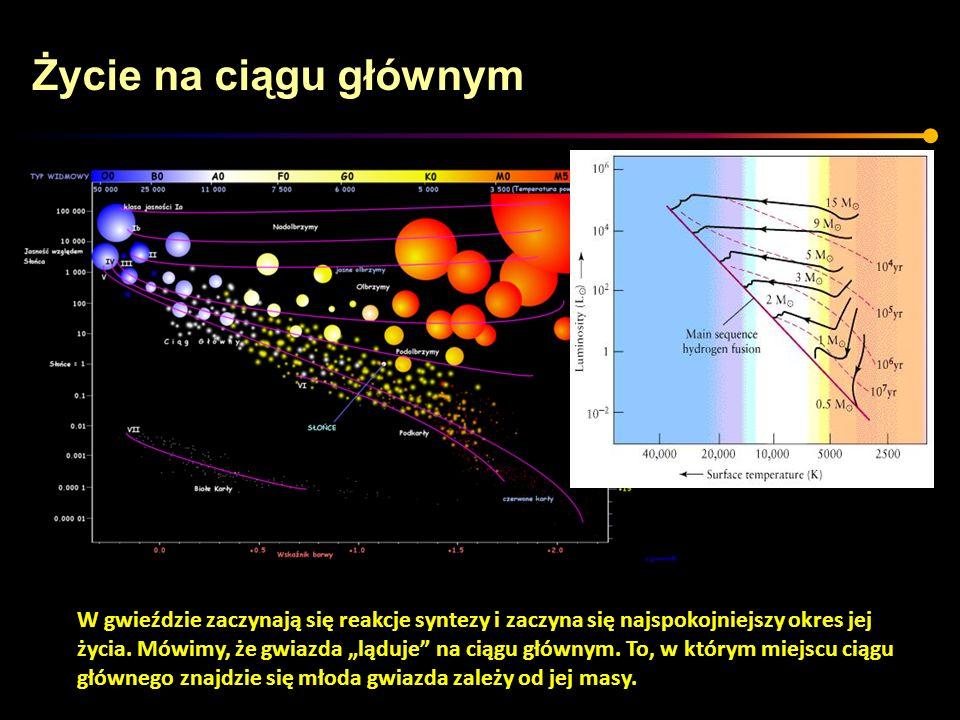 Życie na ciągu głównym Typowa (ale nie jedyna) reakcja syntezy wodoru w hel zachodząca w gwieździe znajdującej się na ciągu głównym.