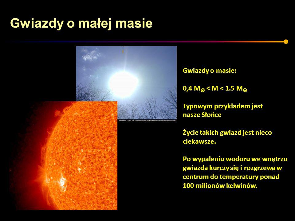 Gwiazdy o małej masie Zanim jednak centrum osiągnie odpowiednią temperaturę gwiazda przechodzi przez etap czerwonego olbrzyma-na diagramie H-R przesuwa się w prawo i w górę Jądro gwiazdy powoli zapada się.