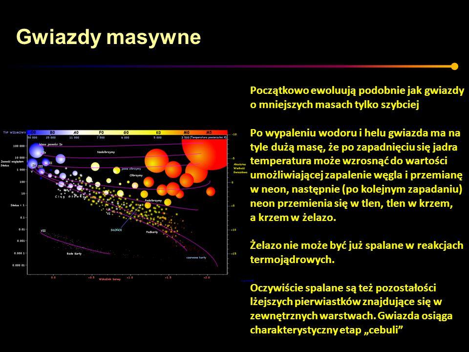 Gwiazdy masywne Początkowo ewoluują podobnie jak gwiazdy o mniejszych masach tylko szybciej Po wypaleniu wodoru i helu gwiazda ma na tyle dużą masę, ż