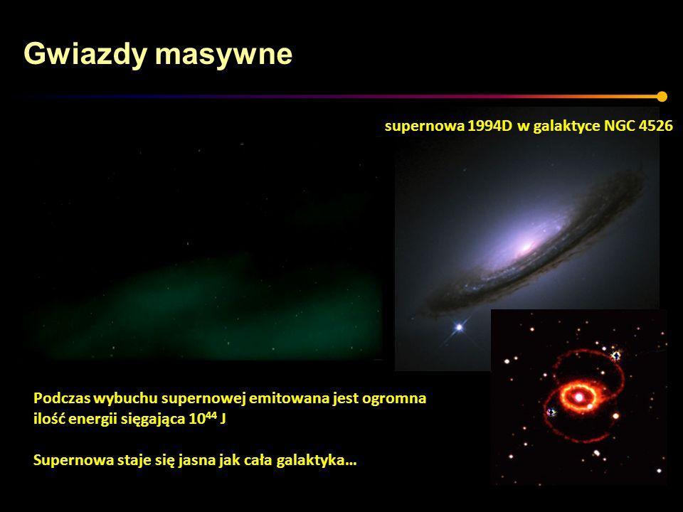 Gwiazdy masywne Podczas wybuchu supernowej emitowana jest ogromna ilość energii sięgająca 10 44 J Supernowa staje się jasna jak cała galaktyka… supern