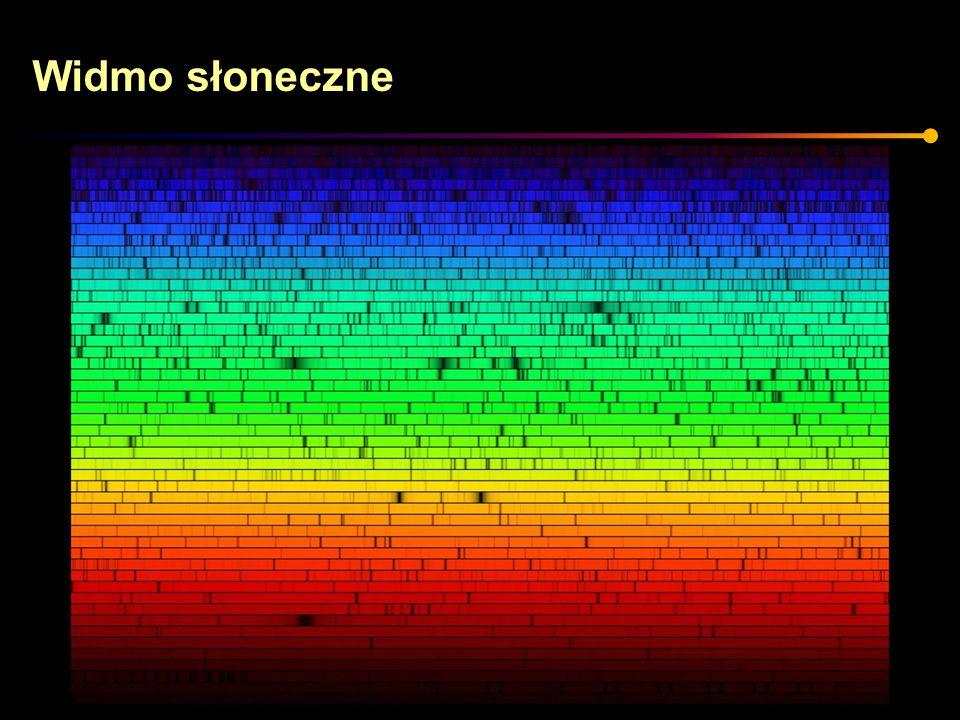 Natężenie linii 50,000K 10,000K 6,000K 4,000K 3,000K O0B0 A0 F0 G0 K0 M0 M7 He II He I H H Ca II TiO Dane przejście energetyczne w atomie możliwe jest tylko w odpowiedniej temperaturze.