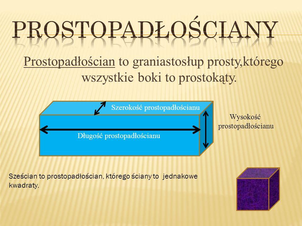 Prostopadłościan ma o 6 ścian o 8 wierzchołków o 12 krawędzi Objętość : a * b * c Czyli pomnożyć długość, szerokość i wysokość Pole powierzchni Trzeba obliczyć pola wszystkch prostokątów i dodać je do siebie