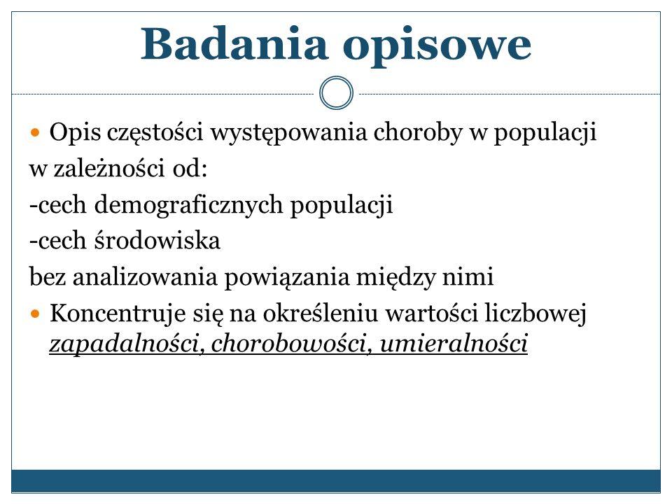 Podstawowe kategorie zmiennych w opisie epidemiologicznym choroby Charakterystyka: 1.