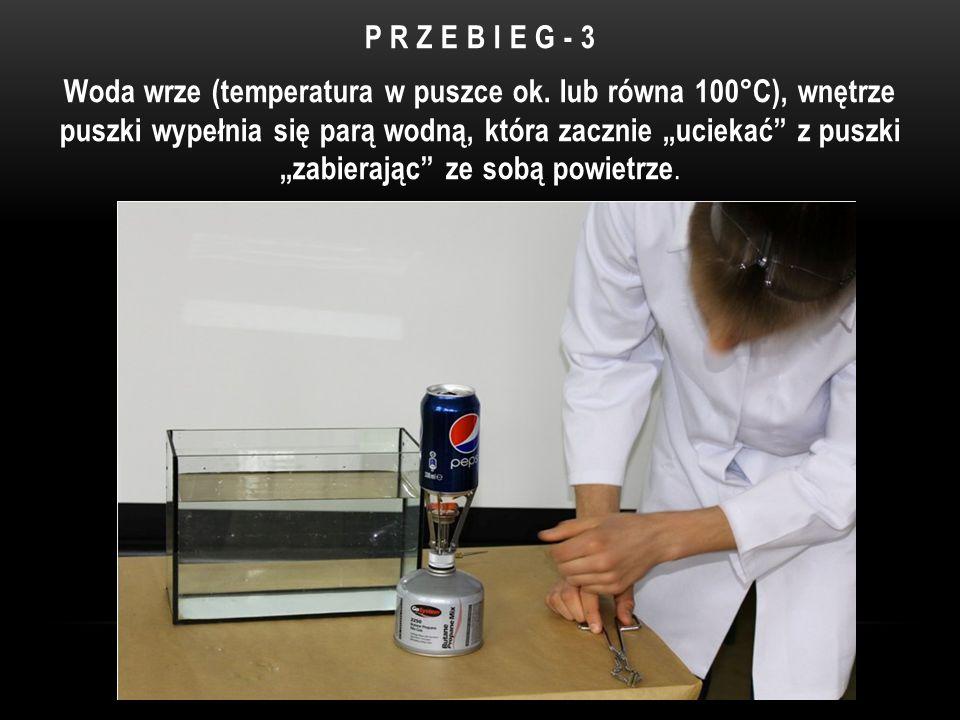 P R Z E B I E G - 3 Woda wrze (temperatura w puszce ok.