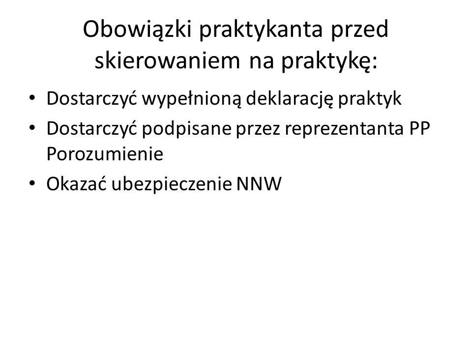 Obowiązki praktykanta przed skierowaniem na praktykę: Dostarczyć wypełnioną deklarację praktyk Dostarczyć podpisane przez reprezentanta PP Porozumieni
