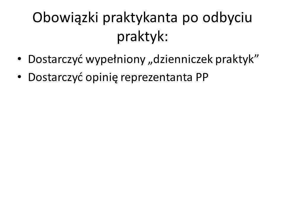 Obowiązki praktykanta po odbyciu praktyk: Dostarczyć wypełniony dzienniczek praktyk Dostarczyć opinię reprezentanta PP