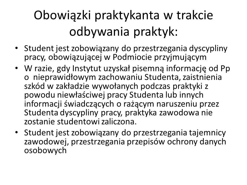 Obowiązki praktykanta w trakcie odbywania praktyk: Student jest zobowiązany do przestrzegania dyscypliny pracy, obowiązującej w Podmiocie przyjmującym