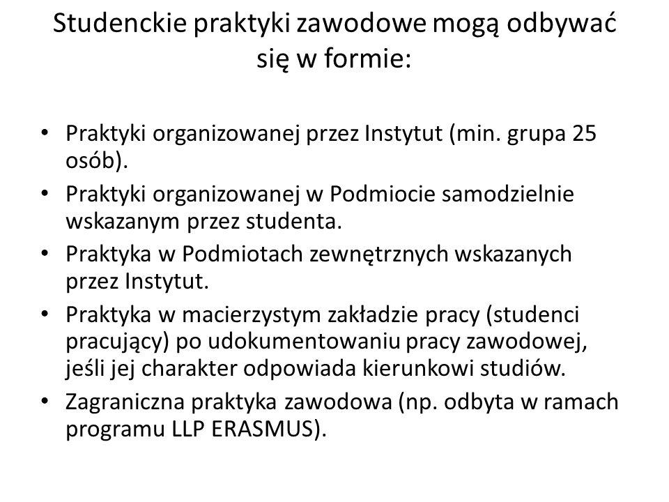 Studenckie praktyki zawodowe mogą odbywać się w formie: Praktyki organizowanej przez Instytut (min. grupa 25 osób). Praktyki organizowanej w Podmiocie
