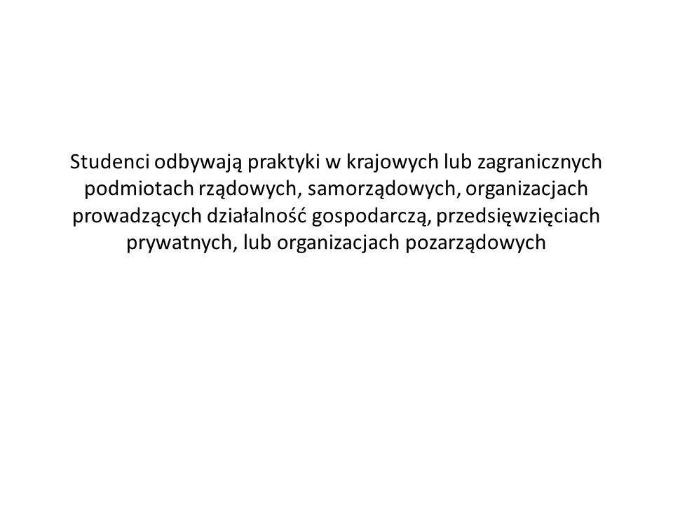 Studenci odbywają praktyki w krajowych lub zagranicznych podmiotach rządowych, samorządowych, organizacjach prowadzących działalność gospodarczą, prze