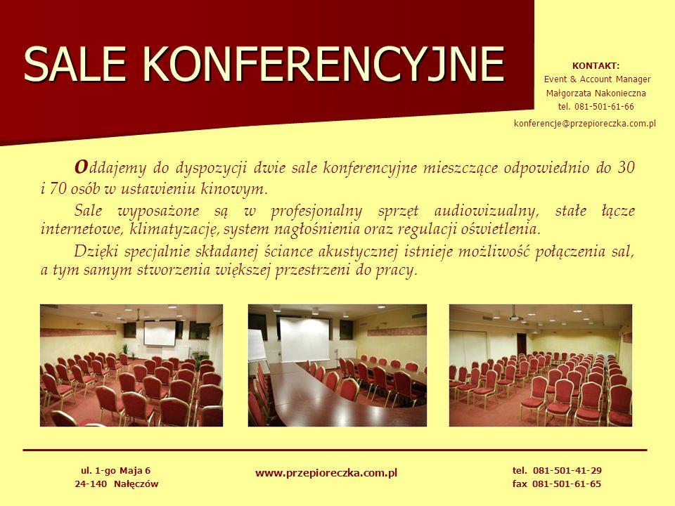 SALE KONFERENCYJNE o ddajemy do dyspozycji dwie sale konferencyjne mieszczące odpowiednio do 30 i 70 osób w ustawieniu kinowym. Sale wyposażone są w p