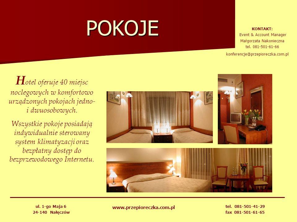 POKOJE H otel oferuje 40 miejsc noclegowych w komfortowo urządzonych pokojach jedno- i dwuosobowych. Wszystkie pokoje posiadają indywidualnie sterowan