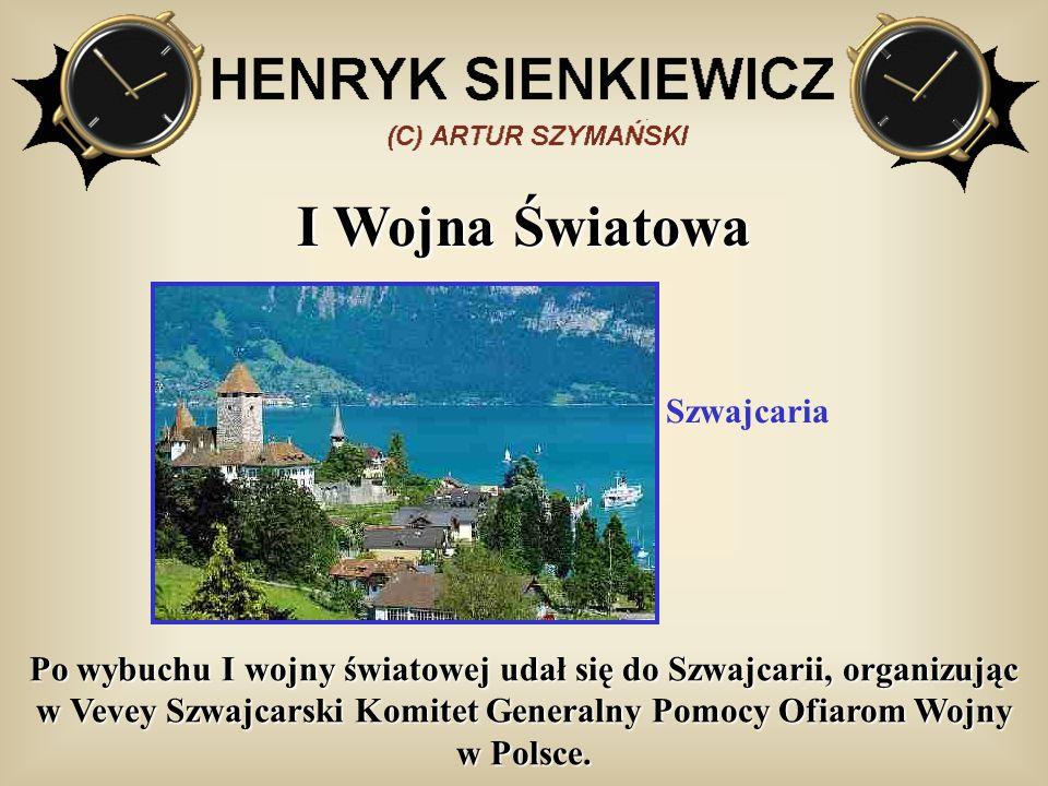 I Wojna Światowa Po wybuchu I wojny światowej udał się do Szwajcarii, organizując w Vevey Szwajcarski Komitet Generalny Pomocy Ofiarom Wojny w Polsce.