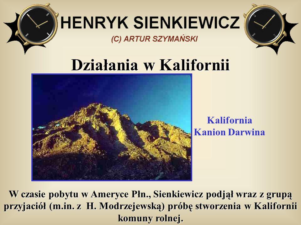 Działania w Kalifornii W czasie pobytu w Ameryce Płn., Sienkiewicz podjął wraz z grupą przyjaciół (m.in. z H. Modrzejewską) próbę stworzenia w Kalifor