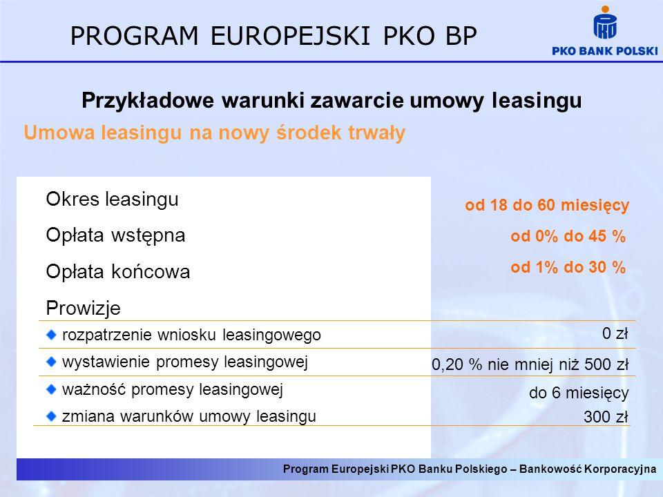 Program Europejski PKO Banku Polskiego – Bankowość Korporacyjna PROGRAM EUROPEJSKI PKO BP Przykładowe warunki zawarcie umowy leasingu Umowa leasingu na nowy środek trwały do 6 miesięcy od 18 do 60 miesięcy Okres leasingu Opłata wstępna Opłata końcowa Prowizje rozpatrzenie wniosku leasingowego wystawienie promesy leasingowej ważność promesy leasingowej zmiana warunków umowy leasingu 0 zł 0,20 % nie mniej niż 500 zł 300 zł od 0% do 45 % od 1% do 30 %