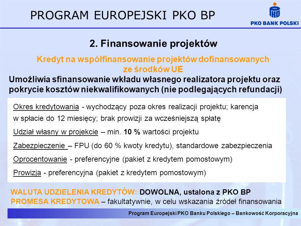 Program Europejski PKO Banku Polskiego – Bankowość Korporacyjna PROGRAM EUROPEJSKI PKO BP 2.