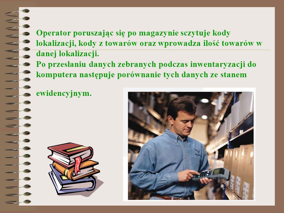 Operator poruszając się po magazynie sczytuje kody lokalizacji, kody z towarów oraz wprowadza ilość towarów w danej lokalizacji. Po przesłaniu danych