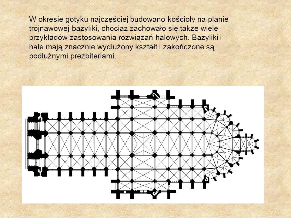 W okresie gotyku najczęściej budowano kościoły na planie trójnawowej bazyliki, chociaż zachowało się także wiele przykładów zastosowania rozwiązań hal