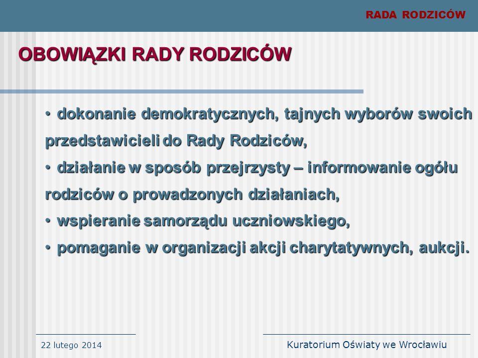 22 lutego 2014 Kuratorium Oświaty we Wrocławiu RADA RODZICÓW dokonanie demokratycznych, tajnych wyborów swoich przedstawicieli do Rady Rodziców,dokona