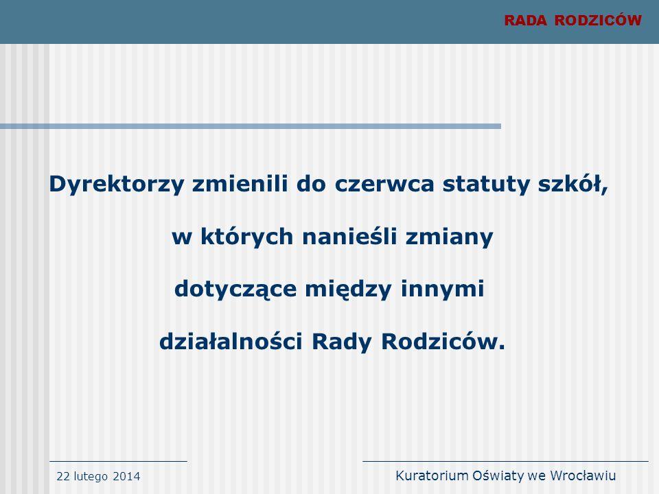 22 lutego 2014 Kuratorium Oświaty we Wrocławiu Dotychczasowe organy będące reprezentacją rodziców uczniów szkoły lub placówki mogły wykonywać zadania rady rodziców do czasu wyboru nowych rad rodziców, nie dłużej jednak niż do dnia 31 października 2007 roku.
