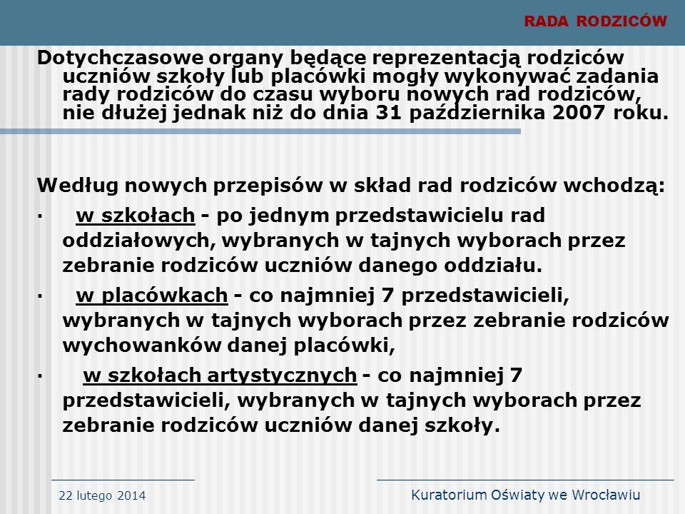 22 lutego 2014 Kuratorium Oświaty we Wrocławiu Dotychczasowe organy będące reprezentacją rodziców uczniów szkoły lub placówki mogły wykonywać zadania