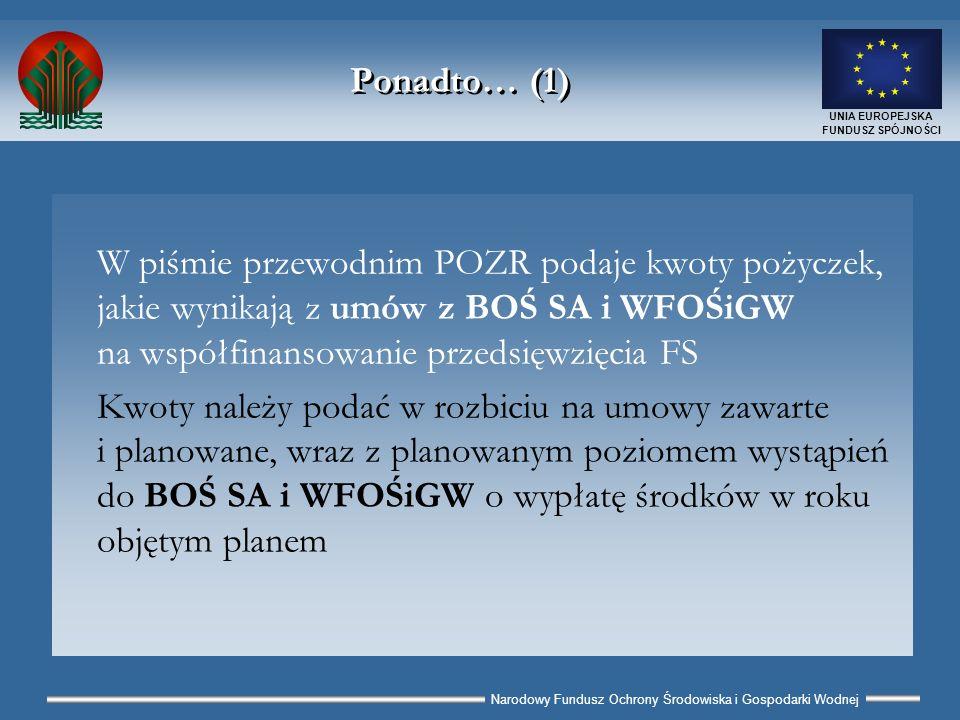 Narodowy Fundusz Ochrony Środowiska i Gospodarki Wodnej UNIA EUROPEJSKA FUNDUSZ SPÓJNOŚCI Ponadto… (1) W piśmie przewodnim POZR podaje kwoty pożyczek, jakie wynikają z umów z BOŚ SA i WFOŚiGW na współfinansowanie przedsięwzięcia FS Kwoty należy podać w rozbiciu na umowy zawarte i planowane, wraz z planowanym poziomem wystąpień do BOŚ SA i WFOŚiGW o wypłatę środków w roku objętym planem