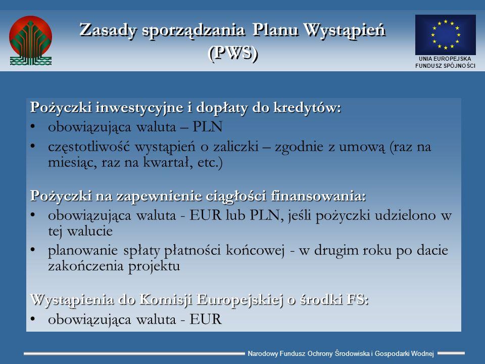 Narodowy Fundusz Ochrony Środowiska i Gospodarki Wodnej UNIA EUROPEJSKA FUNDUSZ SPÓJNOŚCI Zasady sporządzania Planu Wystąpień (PWS) Pożyczki inwestycyjne i dopłaty do kredytów: obowiązująca waluta – PLN częstotliwość wystąpień o zaliczki – zgodnie z umową (raz na miesiąc, raz na kwartał, etc.) Pożyczki na zapewnienie ciągłości finansowania: obowiązująca waluta - EUR lub PLN, jeśli pożyczki udzielono w tej walucie planowanie spłaty płatności końcowej - w drugim roku po dacie zakończenia projektu Wystąpienia do Komisji Europejskiej o środki FS: obowiązująca waluta - EUR