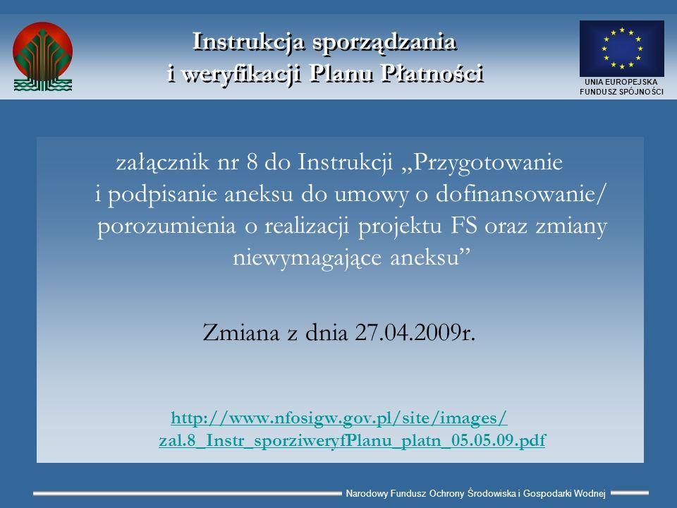 Narodowy Fundusz Ochrony Środowiska i Gospodarki Wodnej UNIA EUROPEJSKA FUNDUSZ SPÓJNOŚCI Plan Płatności (PP) załącznik nr 6 do Instrukcji Przygotowanie i podpisanie aneksu do umowy o dofinansowanie/porozumienia o realizacji projektu FS oraz zmiany niewymagające aneksu Zmiana z dnia 27.04.2009r.
