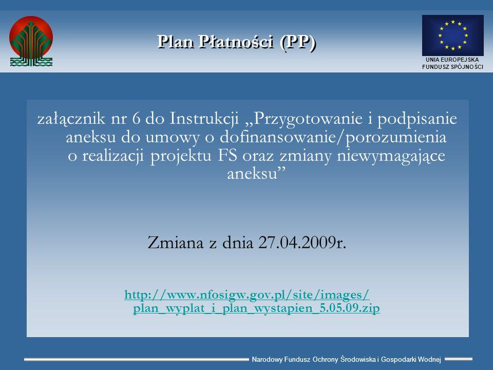 Narodowy Fundusz Ochrony Środowiska i Gospodarki Wodnej UNIA EUROPEJSKA FUNDUSZ SPÓJNOŚCI Plan Płatności (PP) I – Plan Wypłat (PWP) realizowanych przez POZR Cel: monitoring płatności do wykonawców planowanych i realizowanych przez POZR II - Plan Wystąpień (PWS) POZR do NFOŚiGW o środki FS oraz NFOŚiGW Cele: podstawa wypłaty środków NFOŚiGW; podstawa tworzenia prognoz wnioskowania o środki FS do KE