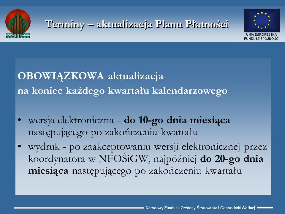 Narodowy Fundusz Ochrony Środowiska i Gospodarki Wodnej UNIA EUROPEJSKA FUNDUSZ SPÓJNOŚCI Terminy – aktualizacja Planu Płatności OBOWIĄZKOWA aktualizacja na koniec każdego kwartału kalendarzowego wersja elektroniczna - do 10-go dnia miesiąca następującego po zakończeniu kwartału wydruk - po zaakceptowaniu wersji elektronicznej przez koordynatora w NFOŚiGW, najpóźniej do 20-go dnia miesiąca następującego po zakończeniu kwartału