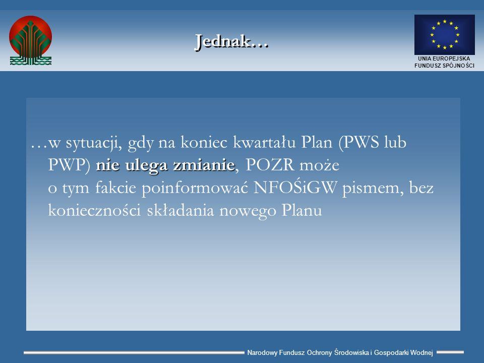 Narodowy Fundusz Ochrony Środowiska i Gospodarki Wodnej UNIA EUROPEJSKA FUNDUSZ SPÓJNOŚCI Liczba egzemplarzy PP 2 oryginały Planu Wypłat (PWP) 3 oryginały Planu Wystąpień (PWS) W przypadku projektów grupowych możliwe zwiększenie liczby przekazywanych wydruków