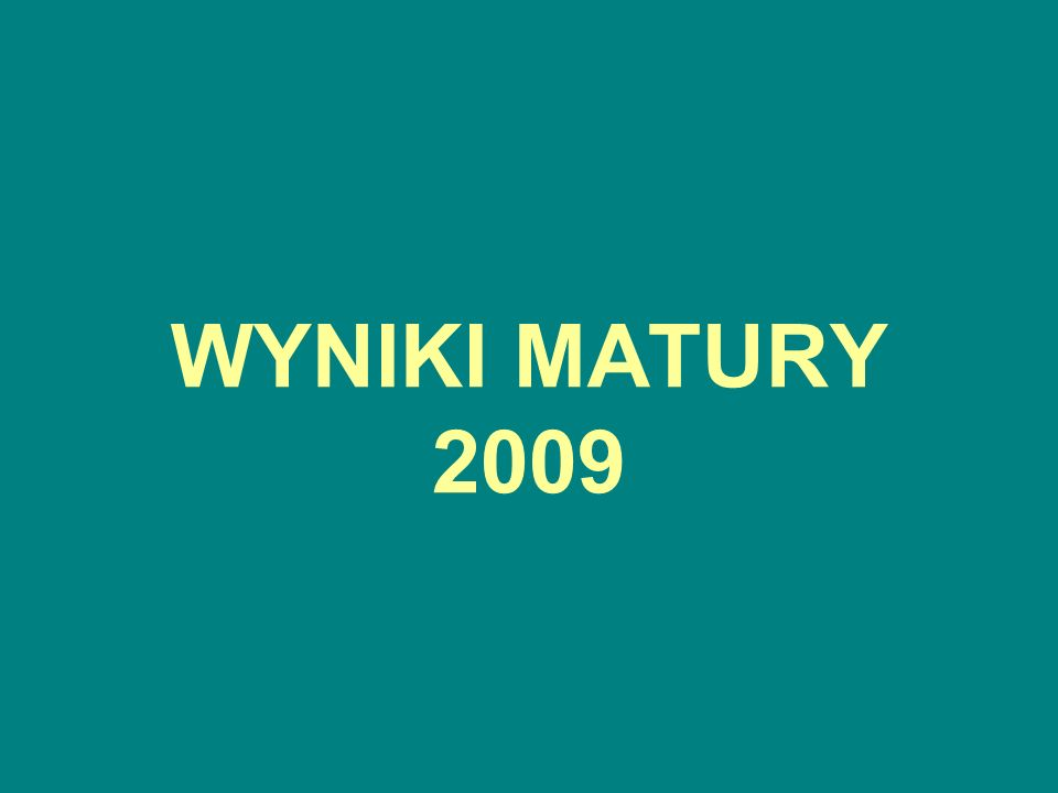 WYNIKI MATURY 2009