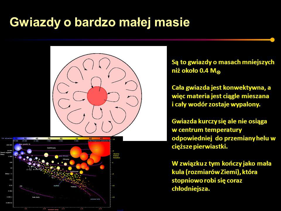 Gwiazdy o bardzo małej masie Są to gwiazdy o masach mniejszych niż około 0.4 M Cała gwiazda jest konwektywna, a więc materia jest ciągle mieszana i ca