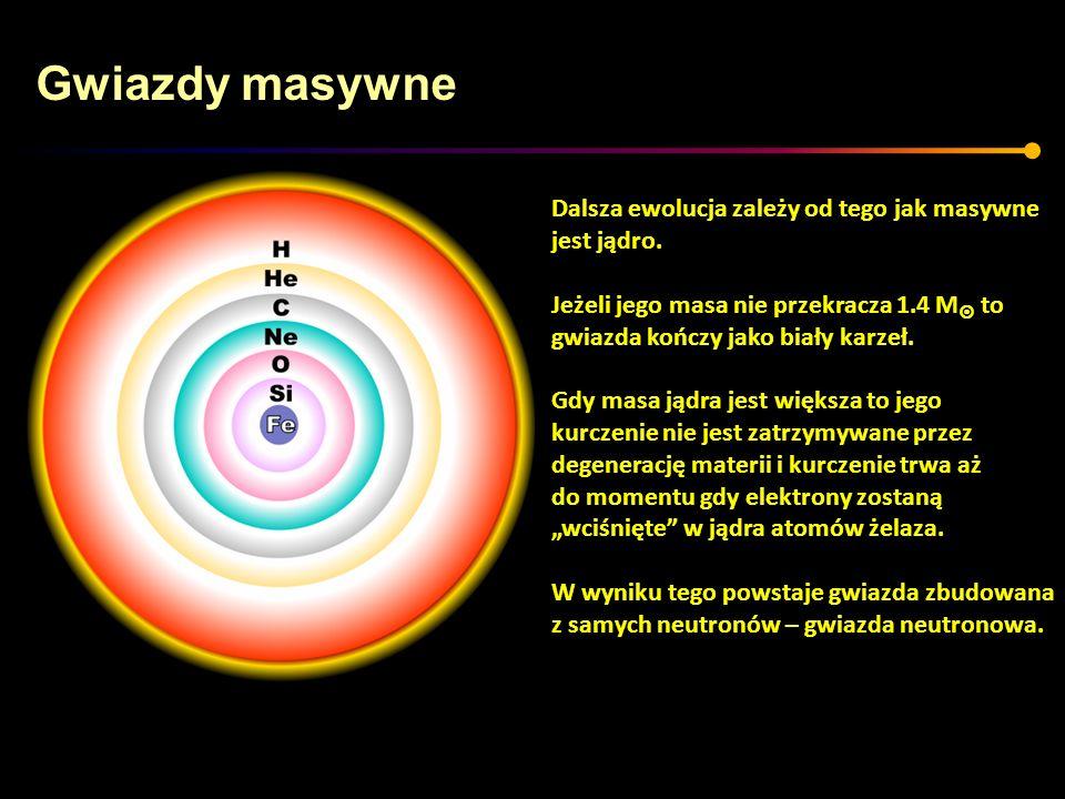 Gwiazdy masywne Dalsza ewolucja zależy od tego jak masywne jest jądro. Jeżeli jego masa nie przekracza 1.4 M to gwiazda kończy jako biały karzeł. Gdy