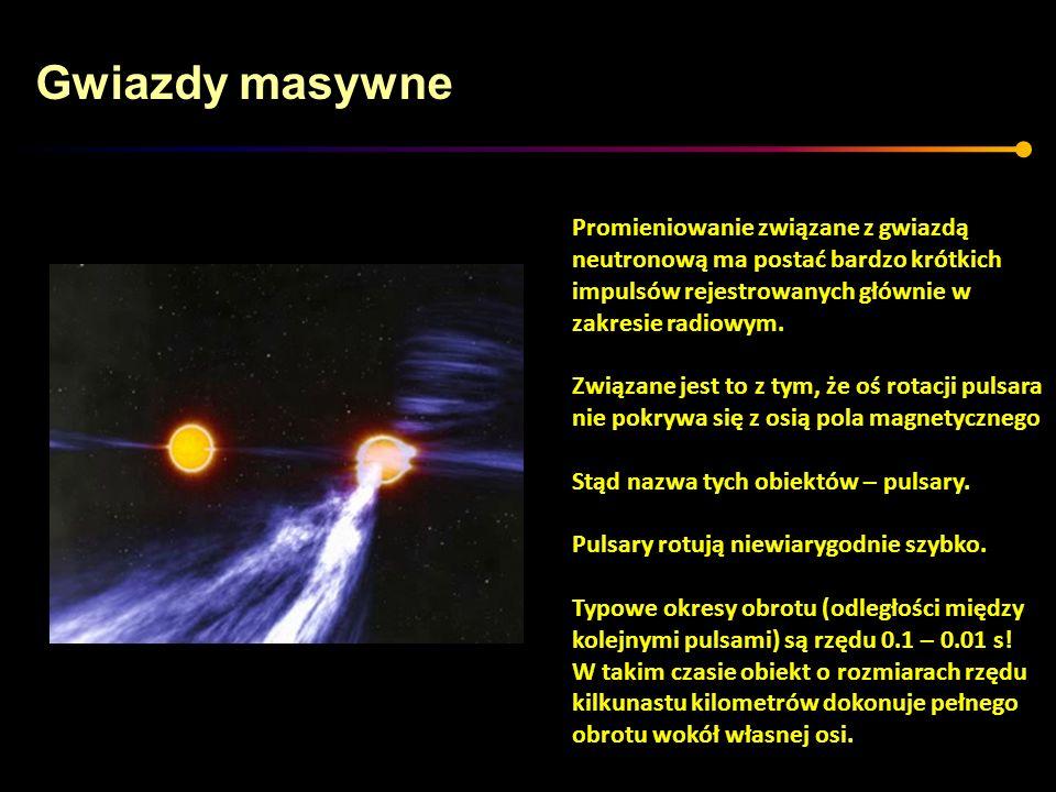 Gwiazdy masywne Promieniowanie związane z gwiazdą neutronową ma postać bardzo krótkich impulsów rejestrowanych głównie w zakresie radiowym. Związane j