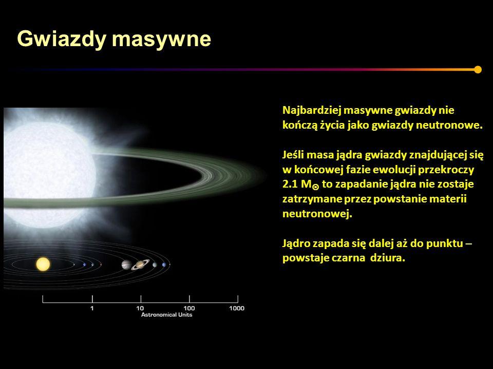 Gwiazdy masywne Najbardziej masywne gwiazdy nie kończą życia jako gwiazdy neutronowe. Jeśli masa jądra gwiazdy znajdującej się w końcowej fazie ewoluc